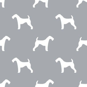 Airedale Terrier silhouette dog fabric grey
