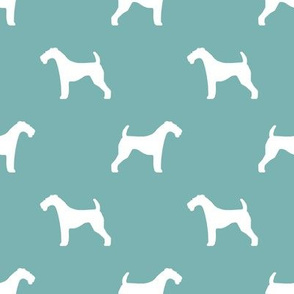 Airedale Terrier silhouette dog fabric gulf blue