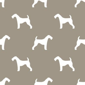 Airedale Terrier silhouette dog fabric medium brown