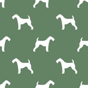 Airedale Terrier silhouette dog fabric medium green