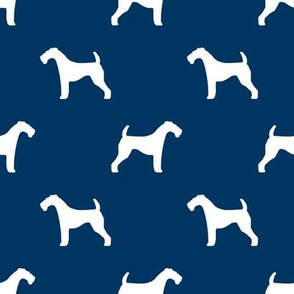 Airedale Terrier silhouette dog fabric fabric navy