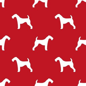 Airedale Terrier silhouette dog fabric red