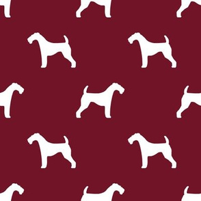 Airedale Terrier silhouette dog fabric ruby