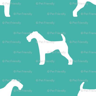 Airedale Terrier silhouette dog fabric turquoise