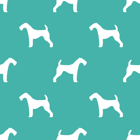 Airedale Terrier silhouette dog fabric turquoise fabric by petfriendly on Spoonflower - custom fabric