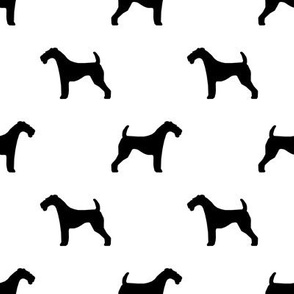 Airedale Terrier silhouette dog fabric white