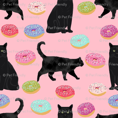 black cat donuts fabric cute food and cats fabric design - pink