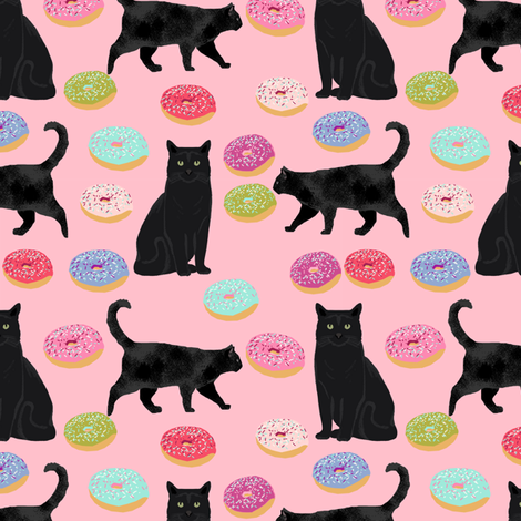 black cat donuts fabric cute food and cats fabric design - pink fabric by petfriendly on Spoonflower - custom fabric
