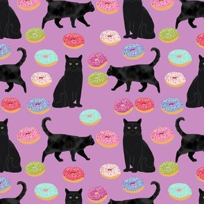 black cat donuts fabric cute food and cats fabric design - purple