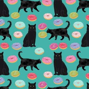 black cat donuts fabric cute food and cats fabric design - turquoise