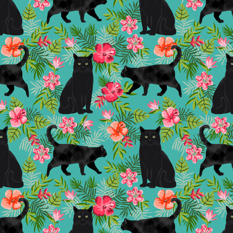 black cat fabric tropical palms summer hawaiian print - turquoise fabric by petfriendly on Spoonflower - custom fabric