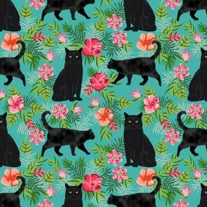 black cat fabric tropical palms summer hawaiian print - turquoise