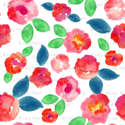 pink abstract watercolor floral