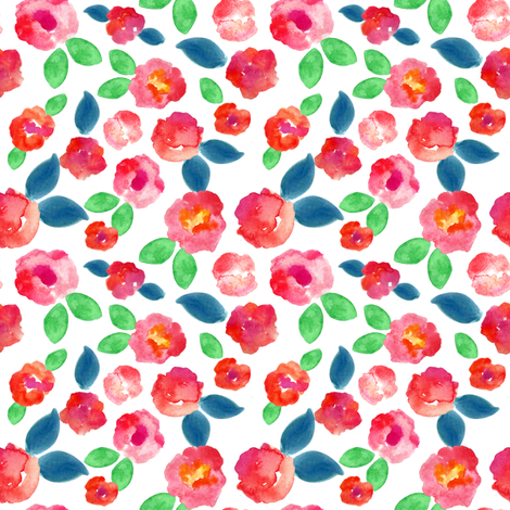 pink abstract watercolor floral  fabric by smallhoursshop on Spoonflower - custom fabric