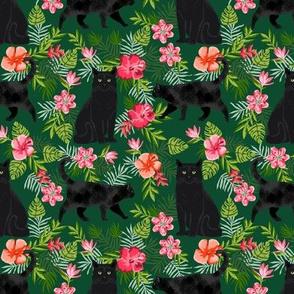 black cat fabric tropical palms summer hawaiian print - green