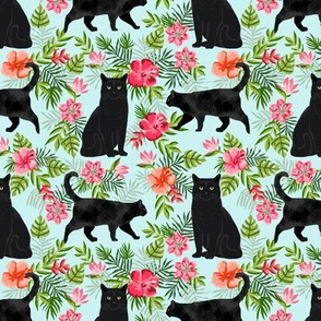 black cat fabric tropical palms summer hawaiian print - light blue