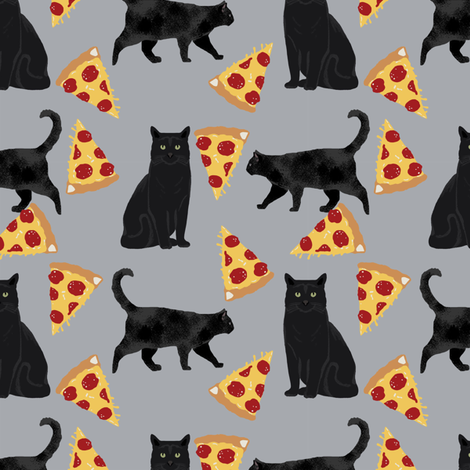 black cat fabric pizza and cats fabric cute funny cat internet cats fabric - grey fabric by petfriendly on Spoonflower - custom fabric
