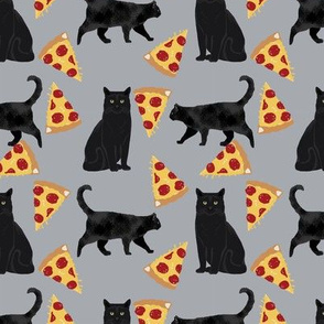 black cat fabric pizza and cats fabric cute funny cat internet cats fabric - grey