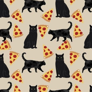 black cat fabric pizza and cats fabric cute funny cat internet cats fabric - sand