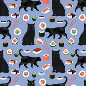 black cat sushi fabric cute cats and food fabric design - powder blue
