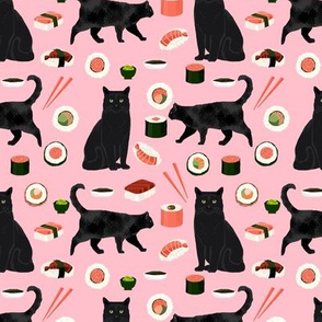black cat sushi fabric cute cats and food fabric design - pink