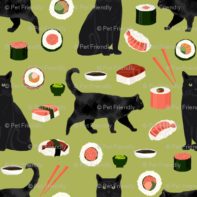 black cat sushi fabric cute cats and food fabric design - lime green