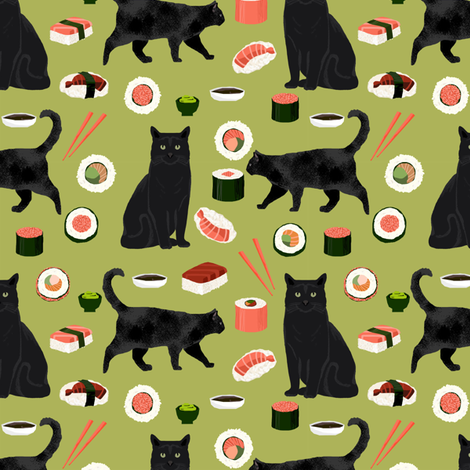 black cat sushi fabric cute cats and food fabric design - lime green fabric by petfriendly on Spoonflower - custom fabric