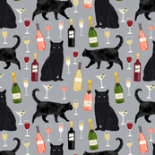 black cat wine fabric cute rose  and cats fabric kitty cat fabric cat lady fabric - grey