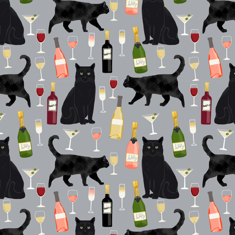 black cat wine fabric cute rose  and cats fabric kitty cat fabric cat lady fabric - grey fabric by petfriendly on Spoonflower - custom fabric