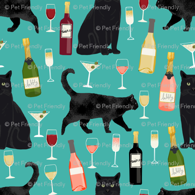 black cat wine fabric cute rose  and cats fabric kitty cat fabric cat lady fabric - turquoise
