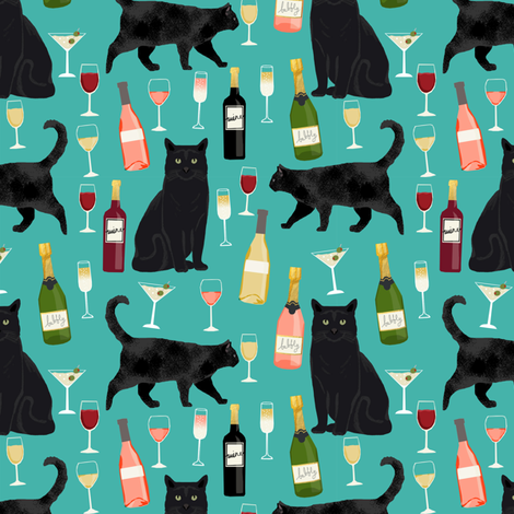 black cat wine fabric cute rose  and cats fabric kitty cat fabric cat lady fabric - turquoise fabric by petfriendly on Spoonflower - custom fabric