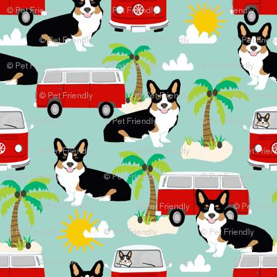 Corgi Tricolored beach dog breed fabric