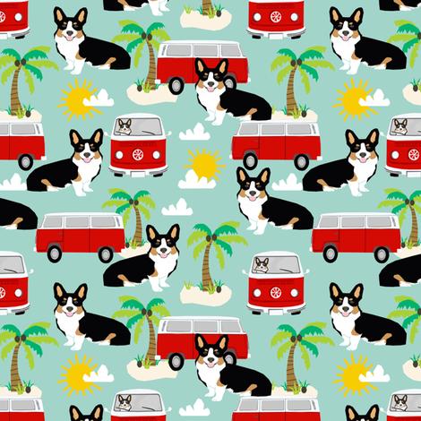 Corgi Tricolored beach dog breed fabric  fabric by petfriendly on Spoonflower - custom fabric