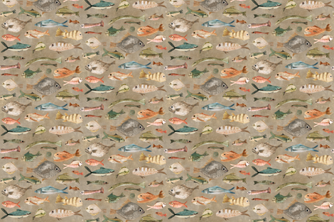 fish in fawn fabric by katherine_quinn on Spoonflower - custom fabric
