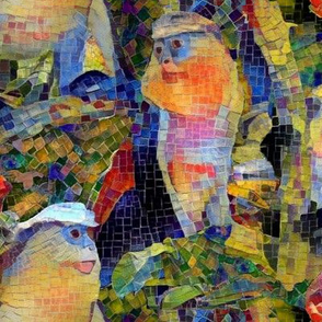 Mona Monkey Colorful Mosaic