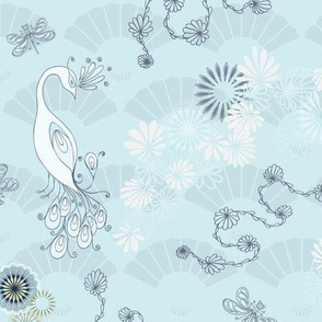 Peacocks and Dragonflies on Light Blue