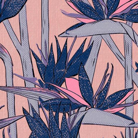 Strelitzia texture dark blue  fabric by susiprint on Spoonflower - custom fabric