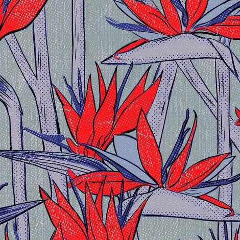 Strelitzia texture red fabric by susiprint on Spoonflower - custom fabric