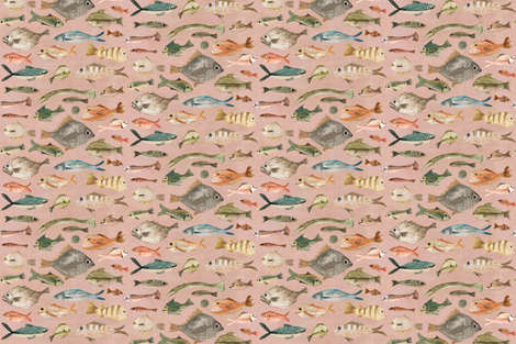 fish in dusky pink  fabric by katherine_quinn on Spoonflower - custom fabric