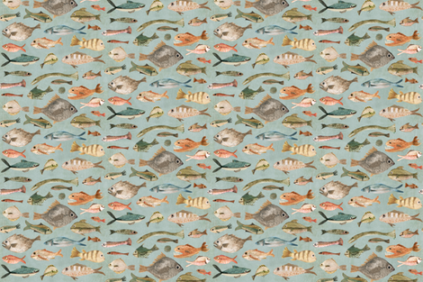 fish in duck egg blue fabric by katherine_quinn on Spoonflower - custom fabric
