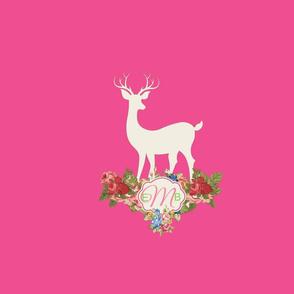 deer cream2  rose blue bouquet 19-  hottie pink MONOGRAM 3