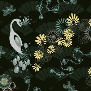 Peacocks and Dragonflies on Dark Green