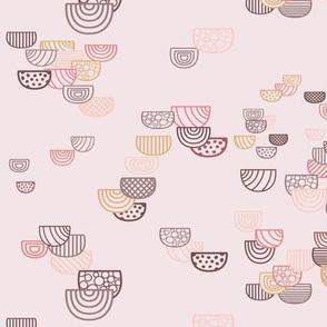 Geometric Semi-circles Seamless Repeating Pattern on Light Pink