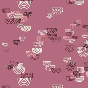 Geometric Semi-circles Seamless Repeating Pattern on Dark Pink