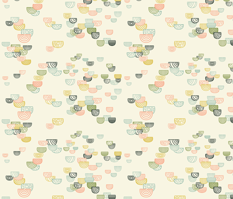 Geometric Semi-circles Seamless Repeating Pattern on Cream fabric by paula_ohreen_designs on Spoonflower - custom fabric