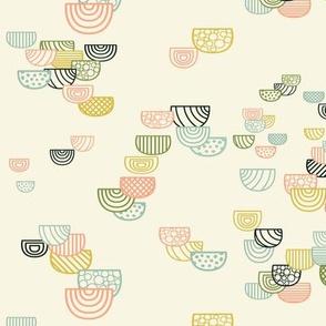 Geometric Semi-circles Seamless Repeating Pattern on Cream