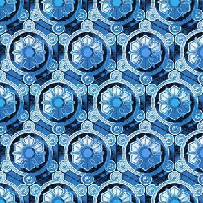 hextiles, blue