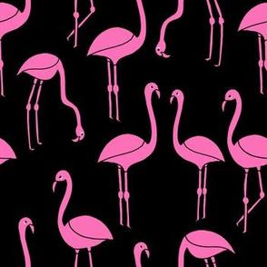 flamingo fabric // birds tropical summer andrea lauren fabric black and pink