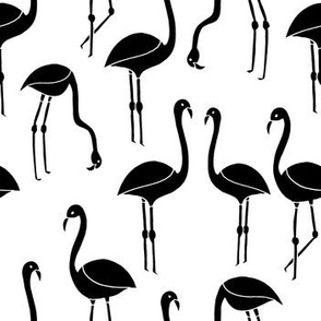 flamingo fabric // birds tropical summer andrea lauren fabric black and white