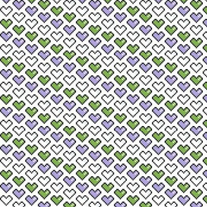 Pixel Heart (Purple, White, Green)